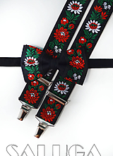 Detské doplnky - Folklórny detský čierny motýlik a traky - folkový - ľudový - 10910292_