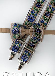 Doplnky - Pánsky folklórny motýlik a traky - hnedý set - 10910221_