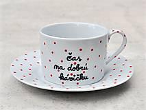 Nádoby - Porcelánová šálka s podšálkou na kávu 200 ml s nápisom - 2. akosť - 10909505_
