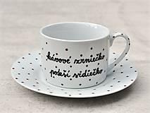 Nádoby - Porcelánová šálka s podšálkou na kávu 200 ml s nápisom - 2. akosť - 10909509_
