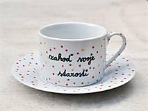 Nádoby - Porcelánová šálka s podšálkou na kávu 200 ml s nápisom - 2. akosť - 10909511_