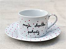 Nádoby - Porcelánová šálka s podšálkou na kávu 200 ml s nápisom - 2. akosť - 10909515_
