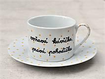 Nádoby - Porcelánová šálka s podšálkou na kávu 200 ml s nápisom - 2. akosť - 10909518_