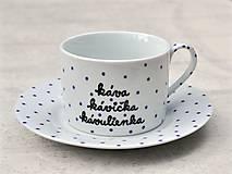 Nádoby - Porcelánová šálka s podšálkou na kávu 200 ml s nápisom - 2. akosť - 10909520_