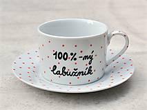 Nádoby - Porcelánová šálka s podšálkou na kávu 200 ml s nápisom - 2. akosť - 10909521_