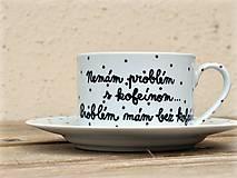 Nádoby - Porcelánová šálka s podšálkou na kávu 200 ml s nápisom - 2. akosť - 10909528_