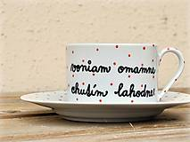 Nádoby - Porcelánová šálka s podšálkou na kávu 200 ml s nápisom - 2. akosť - 10909529_