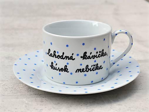 Porcelánová šálka s podšálkou na kávu 200 ml s nápisom - 2. akosť