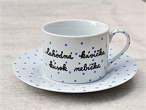 Nádoby - Porcelánová šálka s podšálkou na kávu 200 ml s nápisom - 2. akosť - 10909508_
