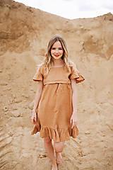 Ľanové šaty Camel
