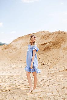 Šaty - Ľanové šaty Sky blue - 10910098_
