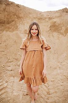 Šaty - Ľanové šaty Camel (XS/S) - 10910119_