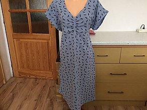 Šaty - Mušelín šaty-vážky na modré 44 - 10910085_