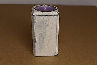 Svietidlá a sviečky - Svietnik Kocka biela - 10910509_