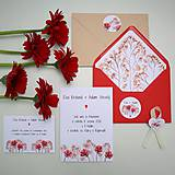 Červené kvietky - svadobné oznámenie