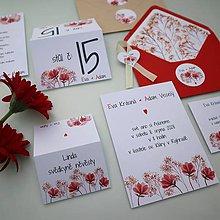 Papiernictvo - Červené kvietky - svadobné oznámenie - 10910434_