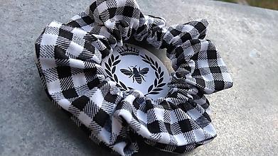 Ozdoby do vlasov - Bavlnená scrunchie (Károvaná) - 10910357_