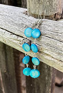 Náušnice - Tyrkysové perleťové - náušnice - 10909968_