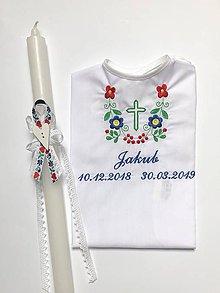 Detské oblečenie - Košieľka na krst k14 folklór, Sviečka na krst Folklór - 10908908_