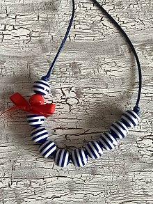 Náhrdelníky - námornícky náhrdelník s mašličkou - 10908999_