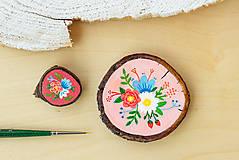 Odznaky/Brošne - Ručně malovaná brož s květy - sytě růžová - 10911770_