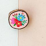 Odznaky/Brošne - Ručně malovaná brož s květy - světle meruňková - 10911782_