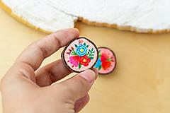 Odznaky/Brošne - Ručně malovaná brož s květy - světle meruňková - 10911783_