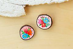 Odznaky/Brošne - Ručně malovaná brož s květy - světle meruňková - 10911785_