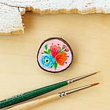Odznaky/Brošne - Ručně malovaná brož s květy - světle meruňková - 10911794_