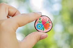 Odznaky/Brošne - Ručně malovaná brož s květy - světle meruňková - 10911795_