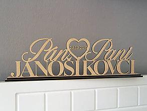 Dekorácie - Stojan s menami Pán ♥ Pani - 10912264_