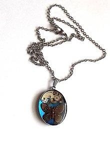 Náhrdelníky - Steampunk modrý náhrdelník z chirurgické oceli - 10911332_