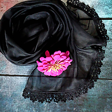 Šály - První tanec - průsvitný šál černý - 10914120_