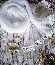 Šály - První polibek - bílý svatební pléd - 10914130_