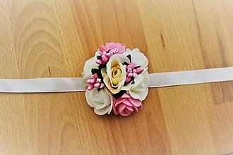 Pierka - Svadobný kvetinový náramok ružový veľký - 10913187_