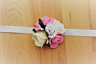 Pierka - Svadobný kvetinový náramok ružový malý - 10913208_