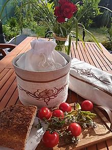 Úžitkový textil - Ľanový košík a vrecko v jednom s výšivkou - 10913021_