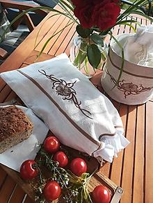 Úžitkový textil - Ľanové vrecko z  ručne tkaného  plátna PODŠITÉ - 10913031_
