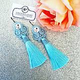 Náušnice - Ručne šité šujtašové náušnice so Swarovski®️crystals / Soutache earrings - Swarovski (Gabriela - baby modrá) - 10912189_