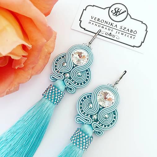 Ručne šité šujtašové náušnice so Swarovski®️crystals / Soutache earrings - Swarovski (Gabriela - baby modrá)