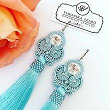 Náušnice - Ručne šité šujtašové náušnice so Swarovski®️crystals / Soutache earrings - Swarovski (Gabriela - baby modrá) - 10912186_