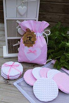 Úžitkový textil - Sada odličovacích tampónov-ružová - 10912583_