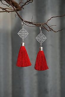 Náušnice - Náušnice - Kosoštvorce so strapcom (Červená) - 10913697_
