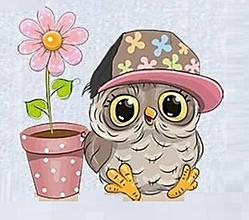 Papier - Nálepka Sovička a kvet - 10913422_