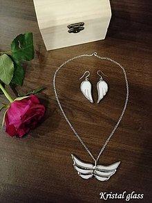 Sady šperkov - Set náušnice + prívesok anjelské krídla - 10913153_