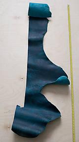 Suroviny - Zbytková koža modrá melírovaná - POSLEDNÝ KUS - 10913681_
