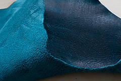 Suroviny - Zbytková koža modrá melírovaná - POSLEDNÝ KUS - 10913682_
