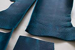 Suroviny - Zbytková koža modrá melírovaná - POSLEDNÝ KUS - 10913693_