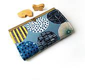 Peňaženky - Peňaženka s priehradkami Retro kruhy - 10911392_