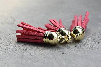 Polotovary - Kožený strapec losos (zlato), 0.35€/ks - 10913801_